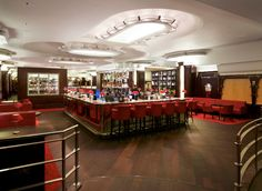 The latest photographs of MASH London. The island bar as you walk down into the 1930's art deco restaurant