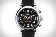Shinola Runwell Chrono Watch. 47mm stainless steel case. Powered by an Argonite 5021 quartz movement. Detroit-made. $750