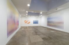 Isabelle Cornaro. Installation view @ Hannah Hoffman, Los Angeles, 2014 (wall paint, spray)