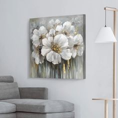 Flower Canvas Art, Diy Canvas Art, Floral Canvas Wall Art, Canvas Home, Texture Painting On Canvas, Acrylic Painting Canvas, Lily Painting, Living Room Canvas, Living Rooms