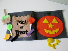 Trick or Treat  Halloween Quiet Book Pages by FreckledFelt on Etsy, $20.00