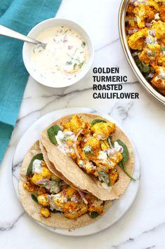 Golden Turmeric Roasted Cauliflower with Raita Dip - Vegan Richa