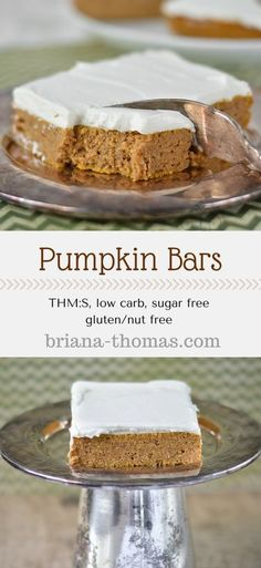 THM:S low carb sugar free gluten/nut free Pumpkin Bars.THM:S low carb sugar free gluten/nut free Low Carb Deserts, Low Carb Sweets, Healthy Desserts, Healthy Recipes, Healthy Pumpkin Bars, Stevia Desserts, Gluten Free Pumpkin Bars, Healthy Sugar, Diabetic Desserts