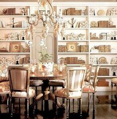 Swoon...a library in the dining room. Perfection. Charles Faudree