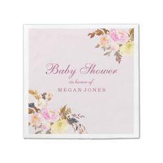#elegant - #Pretty Pink Peach Floral Girl Baby Shower Paper Napkin
