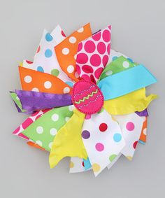 Take a look at this Hot Pink & Yellow Egg Bow Clip by Zazzy Zebra on #zulily today!