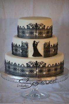 Wedding with sugar lace - Cake by drahunkas Elegant Wedding Cakes, Beautiful Wedding Cakes, Gorgeous Cakes, Pretty Cakes, Amazing Cakes, Cake Wedding, Sugar Lace, Sugar Veil, Silhouette Cake