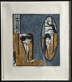 The Mirror woodcut by Will Barnet