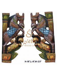 Multicoloured Horse with Yaali Wood Wall Brackets Wood Carving Art, Wood Carvings, Wood Crown Molding, Door Brackets, Door Frames, Wooden Elephant, Indian Temple, Indian Art Paintings, Dark Wax