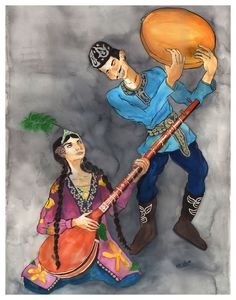 """Uyghur Dutar and Daf Duet painting from the """"Art of Music"""" http://www.madguru.com/aom"""