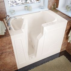 MediTub 26x46 Inch Left Drain Biscuit Whirlpool Jetted Walk In Bathtub  (26x46 Inch