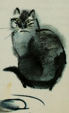 "Illustration by Mirko Hanák. 1971, ""Ryn, the wild horse."", detail.  iL Watercolor Cat"