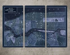"""Old Map of New York Brooklyn on METAL - Large 34"""" x 23"""" Triptych - FREE SHIPPING on Etsy, $139.00"""