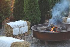 Decor Inspiration – Terrain Table Dinner   Free People Blog metal pit so cool firepit, love this for chilly evening entertainment and straw bales with tied on covers cool