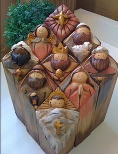 Carved Manger Scene