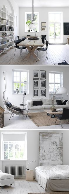 minimalist home with a lot of natural light. dining room. all white