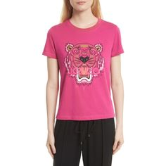 Women's Kenzo Tiger Print Cotton Tee (470 SAR) ❤ liked on Polyvore featuring tops, t-shirts, deep fucshia, cotton logo t shirts, graphic printed t shirts, pink t shirt, pink top and graphic design tees