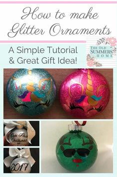 Our tutorial on how to make glitter ornaments will have you crafting in no time. These are durable and do not yellow perfect for vinyl personalization. These Christmas Ornaments make a great gift and popular at trade shows too!