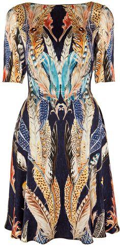 Temperley London Feather Print Dress - Lyst