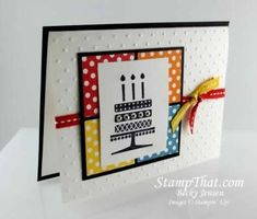 Embellished Events cards - I love the back ground color squares and all those dots.