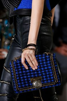 Cobalt blue & black bag with chain edging by Balmain from their SS18 Collection #flawless...x