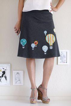 Applique Skirt . Gray Cotton Skirt .  A-line Knee Length Skirt - Hot aire balloon ride on Etsy, $58.00
