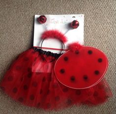 Toddler Ladybird Costume. New. Red Spotted Tutu, Wings, Mask, Headgear