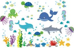 This aquarium themed nursery decal has lots of individual pieces and objects, arrange this however you like!! https://www.etsy.com/listing/264194302/ocean-and-marine-life-wall-decals?ref=shop_home_active_54