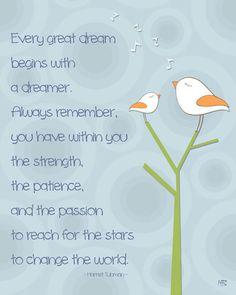 Motivational quote boys room decor art print, nursery wall art, children room decor, inspiring art, dream big