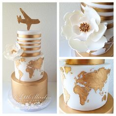 Baby Shower Cake Bride to Be Reading ~ Gold world map travel wedding cake Gorgeous Cakes, Pretty Cakes, Cute Cakes, Amazing Cakes, Baby Shower Cakes, Bolo Barbie, Travel Cake, Travel Party, Gold Cake