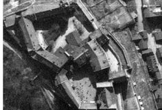 Colditz Castle in Saxony, Germany, on 10 April 1945 just three days before US forces over-ran the area. Individual prisoners can be seen in the photograph