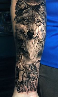 50 Of The Most Beautiful Wolf Tattoo Designs The Internet Has Ever Seen - reali. - 50 Of The Most Beautiful Wolf Tattoo Designs The Internet Has Ever Seen – realistic black & gray - Wolf Pack Tattoo, Wolf Tattoo Forearm, Lion Tattoo, Tattoo Wolf, Wolf Sleeve, Wolf Tattoo Sleeve, Sleeve Tattoos, Wolf Tattoo Shoulder, Wolf Tattoo Design