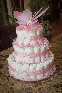 pink Baby Girl shower Diaper Cake