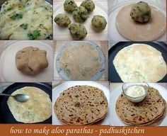 aloo paratha-step by step (whole wheat, potatoe and veggie stuffed pancakes)