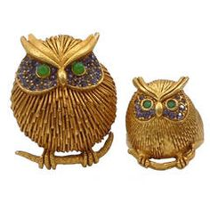 Askew London Owl Brooch and Ring