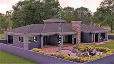 4 Bedroom House Plan - My Building Plans South Africa 5 Bedroom House Plans, Porch House Plans, Basement House Plans, Family House Plans, Dream House Plans, House Floor Plans, Modern Bungalow House, Craftsman Style House Plans, Round House Plans