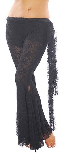 All Lace Sheer Pants with Side Ties - BLACK