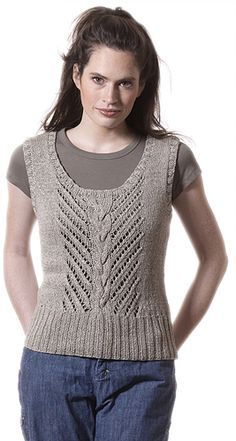 "Badia is a scoop neck tank with a braided cable and easy diagonal lace in the center panel. Shown in size Small   Sizes Directions are for women's size X-Small.  Changes for sizes Small, Medium, Large, 1X and 2X are in parentheses.   Finished Measurements Bust – 33(35-37-39-43-47)"" Length – 21 1/2(22-22 1/2-22 1/2-23-23 1/2)""   Materials 8(8-9-9-10-12) Balls Berroco Bonsai (50 grs), #4110 Straight knitting needles, sizes 6 and 8 OR SIZE TO OBTAIN GAUGE"