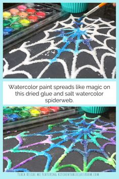 Glue and Salt Spiderweb Craft painted salt and glue spid., Glue and Salt Spiderweb Craft painted salt and glue spiderweb craft. Theme Halloween, Halloween Tags, Fall Crafts For Kids, Halloween Crafts For Kids, Toddler Crafts, Preschool Crafts, Fun Crafts, Art For Kids, Halloween Art Projects