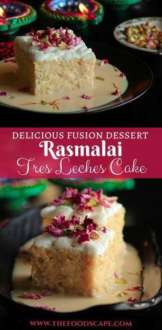 A wonderful fusion dessert, this Rasmalai Tres Leches Cake will definitely wow y. Rasmalai Cake Recipe, Rasgulla Recipe, Falooda Recipe, Gâteau Tres Leches, Tres Leches Recipe, Tres Leches Cupcakes, Ramadan Desserts, Köstliche Desserts, Easter Desserts