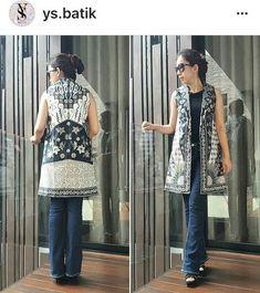 Batik modern Batik Kebaya, Batik Dress, Kimono, Batik Fashion, Ethnic Fashion, African Fashion, Outer Batik, Batik Blazer, Mode Batik
