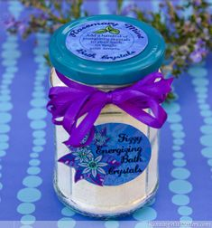 Fizzy Energizing Bath Crystals! These bath salts are scented with rosemary and mint, and they really fizz!