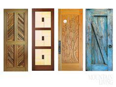 Doors, mountain decor, mountain homes, carved, hardwood, Tom Larkin, Colorado artisan, savaged materials, antique, Tuscan, Craftsmen, handmade, rustic mesquite, sleek sapele  (left to right) ARCHITECTURAL TRADITIONS architecturaltraditions.com CRAFTSMEN IN WOOD ciwood.com DOORWAYS TO THE WEST mycarveddoor.com LA PUERTA ORIGINALS lapuertaoriginals.com  MORE INFO at http://www.mountainliving.com/article/local-style-guide#