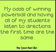 odds of winning Powerball and teaching