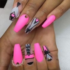 Hot Pink and Black Negative Space Ballerina Nails - Coffin nails are fun to experiment with. Take a look at these 69 impressive designs you will definitely want to play around with. Neon Nails, Love Nails, Pretty Nails, Bright Nails, Nail Swag, Uñas Fashion, Ballerina Nails, Ballet Nails, Nagel Gel