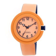 Crayo Equinox Orange Dial Orange Leather Watch ($65) ❤ liked on Polyvore featuring jewelry, watches, orange jewelry, bezel watches, quartz movement watches, crayo and water resistant watches