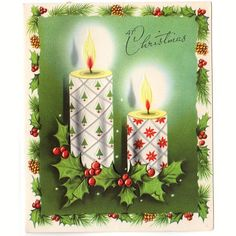 Vintage 1950s Embossed Christmas Card Lit Candles with Christmas Trees and Poinsettias