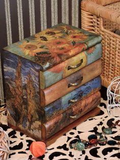 Mini chest of drawers / Мини-комоды ручной работы. Ярмарка Мастеров - ручная работа. Купить Ван Гог, мини-комод (декупаж). Handmade. Рыжий