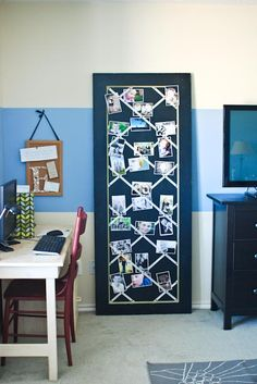 """photo board--> I really need a smaller version of this for my office at work, so I can """"see"""" Ava all day long!!! Will make changing them out easier."""