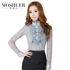 Basic Blouse OL Vintage Royal Lace Decoration Slim Blouses Elegant Long-Sleeve Female Plus Size Shirts S,M,L,XL,XXL